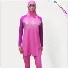 female-pink-purple-floral-muslim-swimwear